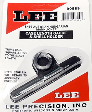 Lee Case Length Gage and Shellholder 8x56R Austrian-Hungarian Mannlicher (8mm Hungarian M31)