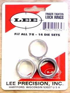 """Lee Die Locking Ring 7/8""""-14 Thread Package of 3"""